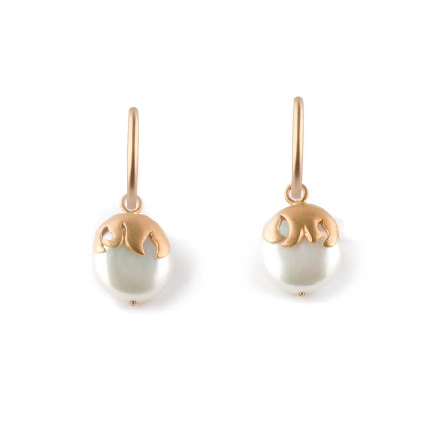 Coin Pearl Earrings with Flame Motif